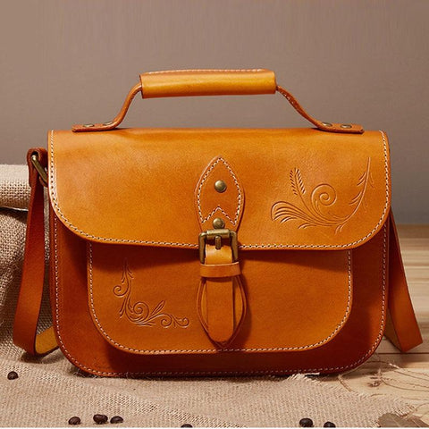 Women Handmade Vegetable Tanned Leather Cross Body Handbags Female Square Package Wild Shoulder Messenger Handbags