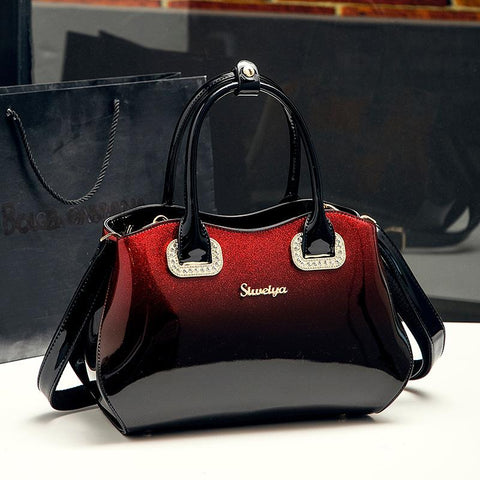 Handbag women fashion bag gradient patent leather cowhide shoulder big capacity