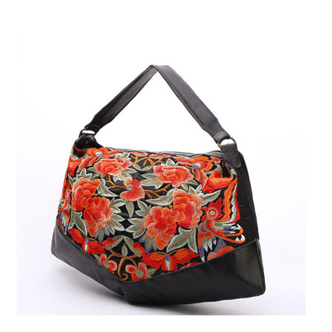 Handbag women style embroidery ethnic summer fashion handmade flowers spring tote shoulder