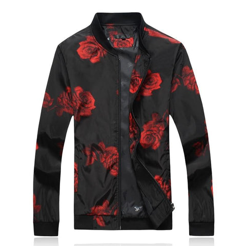 Jacket male autumn plus size 6xl flower printed stand collar coats fashion zipper