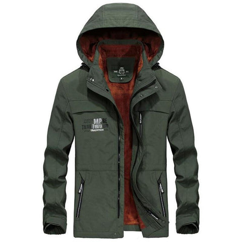 Jacket men brand winter fleece coat for outerwear military plus size m-4xl hooded collar casual