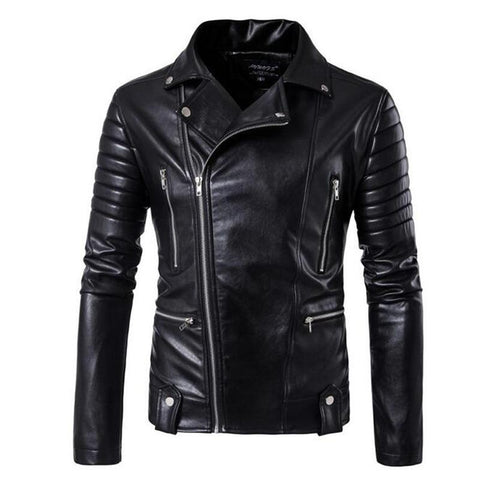 Jacket men's leather autumn motorcycle side zipper pluse size brand fashion outwear