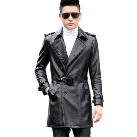 Coat men medium long leather jacket plus size imitation sheepskin