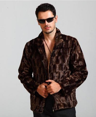 Jacket mens faux imitation stand collar long sleeve fur