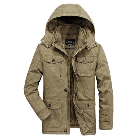Jacket men's winter fleece coat brand military winter parka outerwear overcoat plus size 6xl