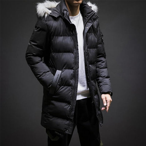 Jacket men winter thick warm fashion casual loose long parkas coats cotton hooded plus size 6xl