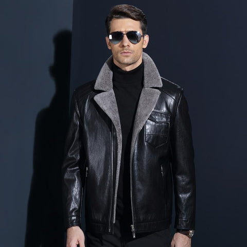 Jacket men's leather imitation lambs fur fleece winter coats