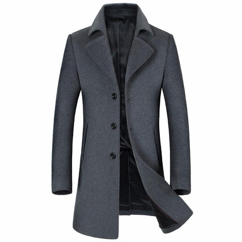Jacket men's wool cashmere long fashion trench coat turn-down collar