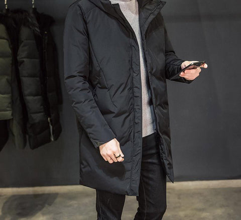 Coat men's winter parkas long l-5xl hooded overcoats thickening jackets zipper casual outwear