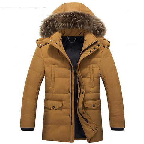 Jackets men's winter brand hat detachable padded casual hooded fur collar parkas warm outwear