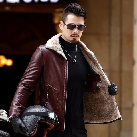 Jacket men's leather coats 4xl brand natural sheep skin outerwear business winter faux fur