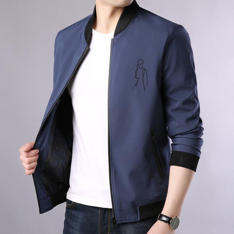 Jacket men simple and elegant famous brand rib hem slim-fit collar casual straight floral long-sleeved