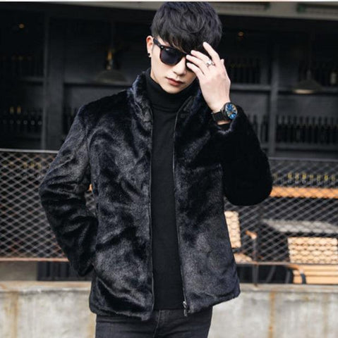 Coats for men faux fur winter formal leather jacket stand collar short style fake mink overcoat