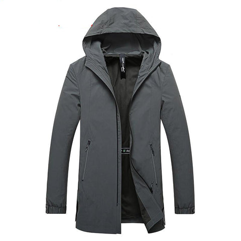 Jackets men plus size 8xl 6xl 5xl long trench coat brand clothing casual fashion hooded
