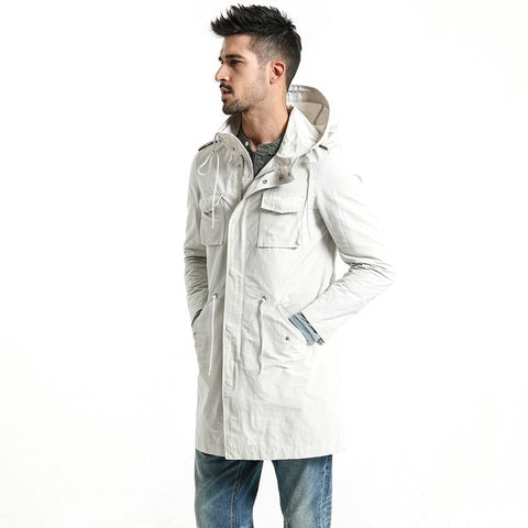 Jackets men autumn long fashion pocket hooded trench slim fit coats brand clothing overcoat