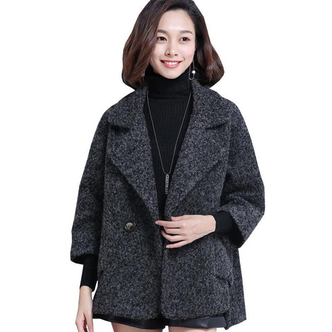 Jacket female autumn/winter woolen loose large size irregular coat fashion