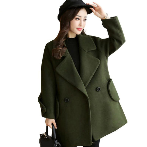 Women coat autumn winter woolen jacket fashion loose large size turn-down collar