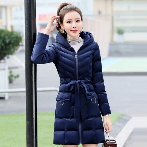 Jacket women thicken velvet winter hooded warm cotton coat down long parkas