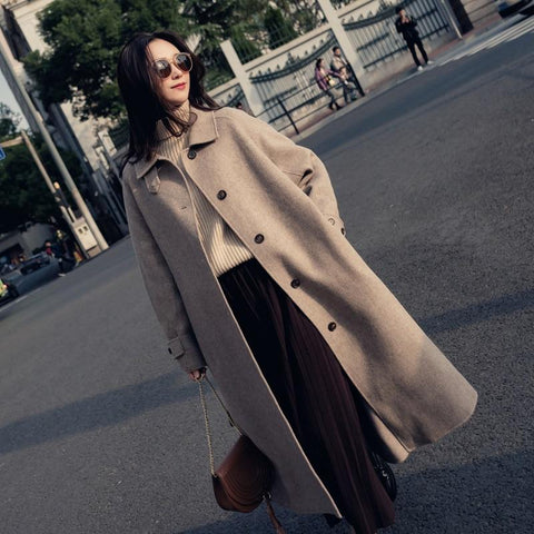 Jacket women sashes long cashmere coat loose solid woolen single breasted turn-down collar