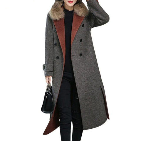 Jacket women fur collar wild long woolen coat autumn winter splice double-breasted