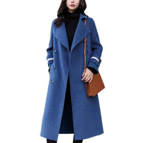 Coat women autumn and winter mid-long fashion double breasted straight wool blends