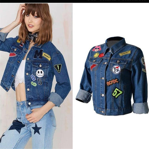 Jacket women's short denim cotton long sleeve embroidery loose causal coat outwear
