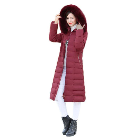 Jacket women's winter long thicken down cotton coat warm hooded plus size 6xl