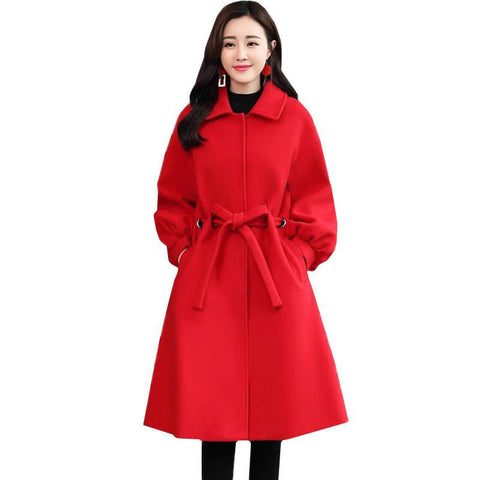 Coat women winter fashion wool jacket belt long outerwear long sleeves slim windbreaker
