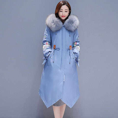 Jacket women natural fur collar winter down hooded long parkas cotton coat embroidery warm