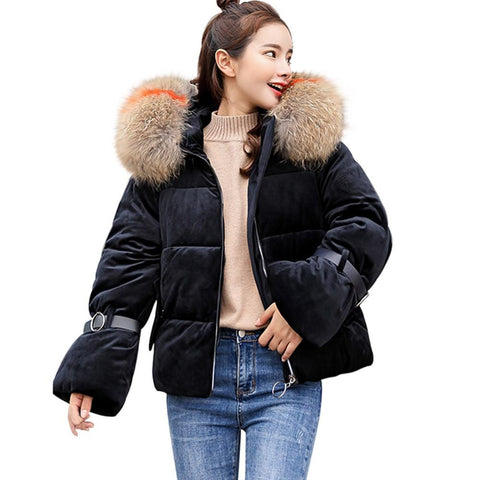 Coat women solid winter hooded thick cotton warm slim collar jacket short outwear