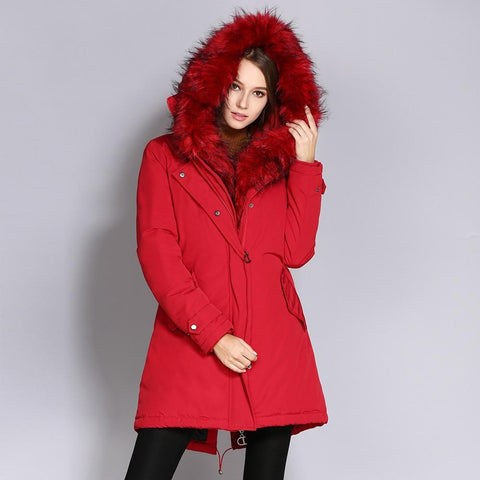 Coat women winter fur collar hooded long jacket thicken warm outwear parkas oversized military parka long