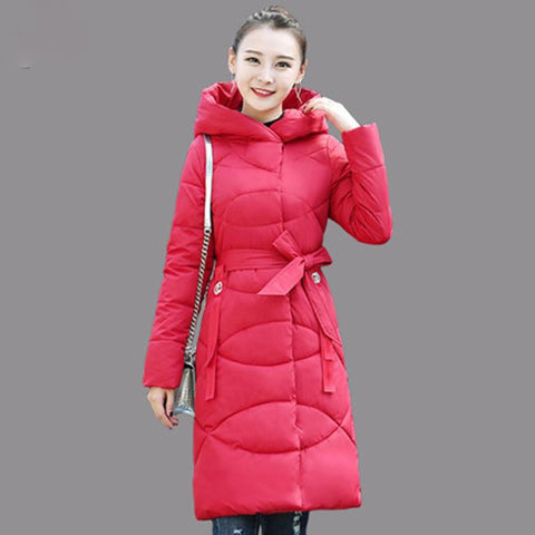 Coats women winter medium long cotton clothing jacket slim fit