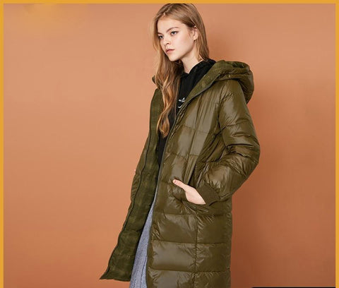 Coat women both sides wear hooded warm winter long down jacket