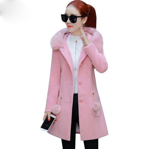 Jacket women fur collar hooded autumn wool fashion medium long windbreaker outerwear slim plus size coats