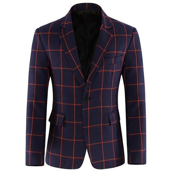 Jackets men fashionable casual suit plaid blazer slim fit plus size