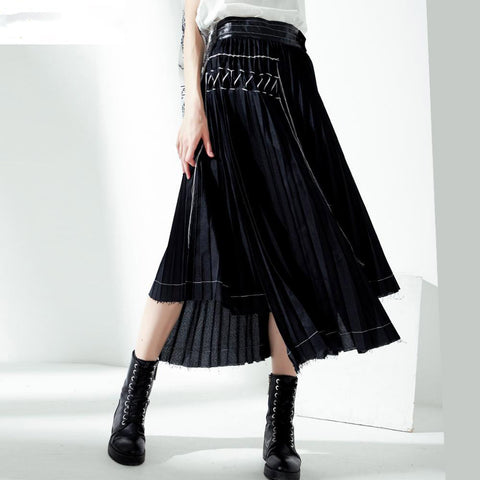 Skirt ladies pleated fashion patchworked high waist spring irregular mid-calf length