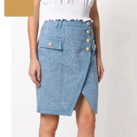Skirt womens fashion asymmetrical wrap scrub wash denim patchwork elegant slim fit office show