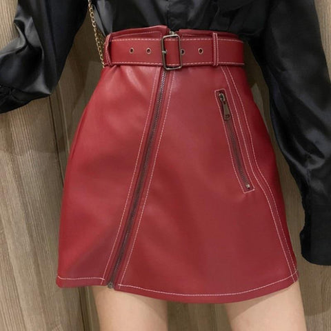 Skirt women faux leather a-line locomotive streetwear high waist fashion