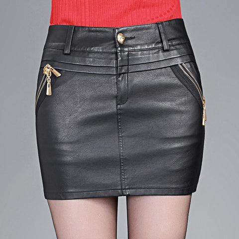 Skirt women's faux leather package hip plus size slim m l xl xxl 3xl 4xl