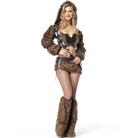 Faux Fur Hunter Costume Set Women Halloween Cosplay Coat Tube Tops Skirt Stage Show Uniform Adult Stocking 2018