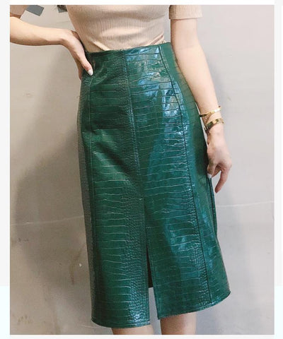 Skirts women split high waist alligator long vintage autumn fashion sexy