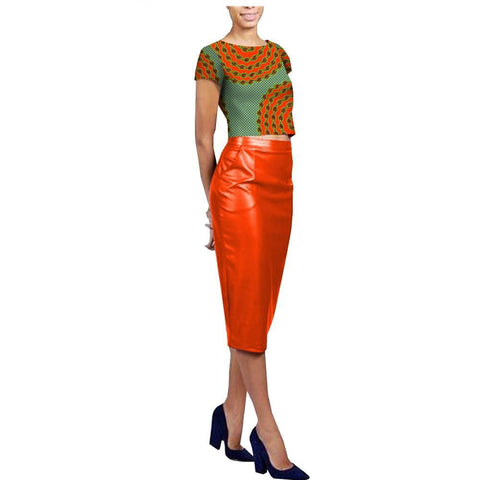 Skirt set for women fashional afripride short sleeve cotton top+knee length faux leather
