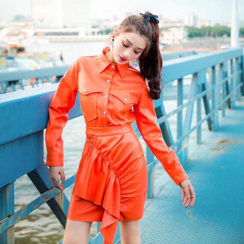 Jacket women leather two piece set lapel collar long sleeve high waist ruffle skirts suit autumn