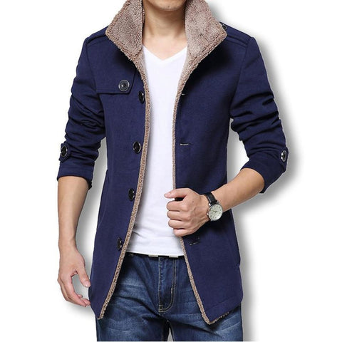 Men's Coat Slim Fit Cotton/Wool Casual Winter Full-sleeves Turn-down Collar Thick Windbreaker Trench
