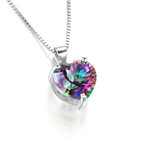 4.35ct Genuine Rainbow Fire Topaz Heart Pendant in 925 Sterling Silver without Chain Vintage Jewelry