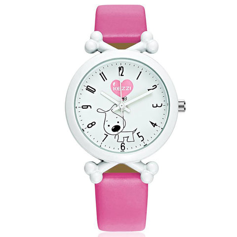 KEZZI Brand New Arrival Cute Cartoon Dog Waterproof Kids Watch Funny Bone Dial Leather Strap Import Movement Watches