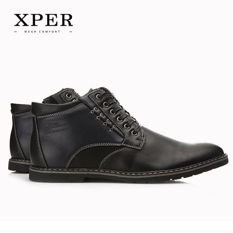 XPER Brand Autumn Winter Men Shoes Boots Casual Fashion High-Cut Lace-up Warm Hombre #YM86901BU