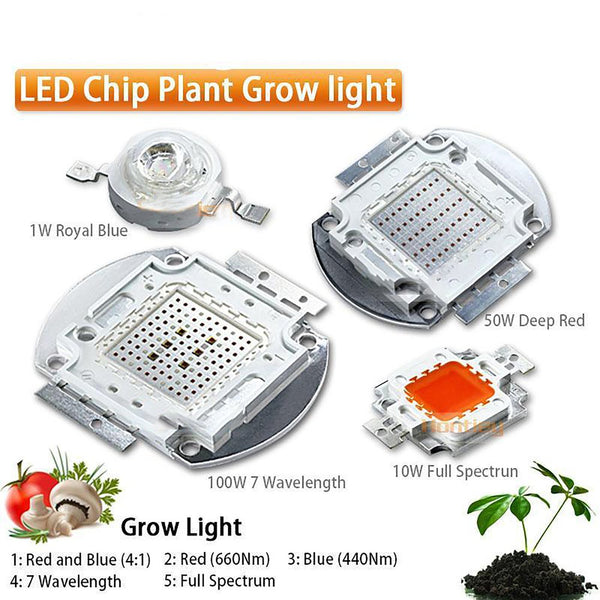 Plant Grow Light LED Chip Full Spectrum 7 Wavelength 440Nm 660Nm 1W - 5W 10W 20W 30W 50W 100W High Power COB