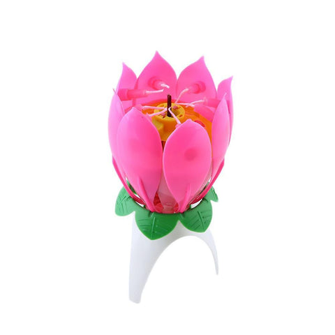 Musical Lotus Flower Romantic Candle Gift Birthday