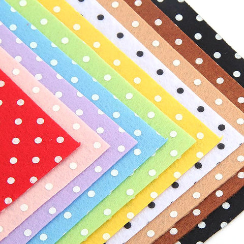 Polkadot Felt Fabric 10pcs/lot 15 by 15cm 100% Polyester Sheets for DIY Crafts and Decoration